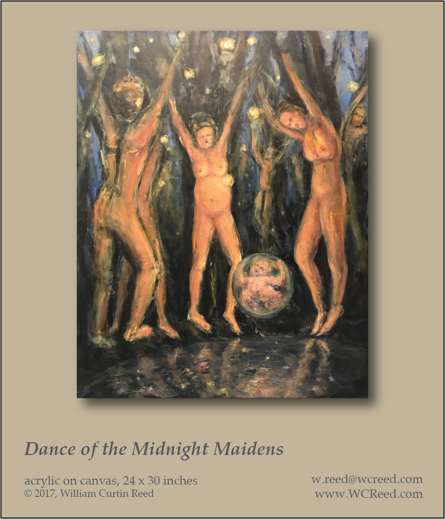 Dance of the Midnight Maidens, an original Painting by William Reed, Acrylic on Canvas, 24 x 30