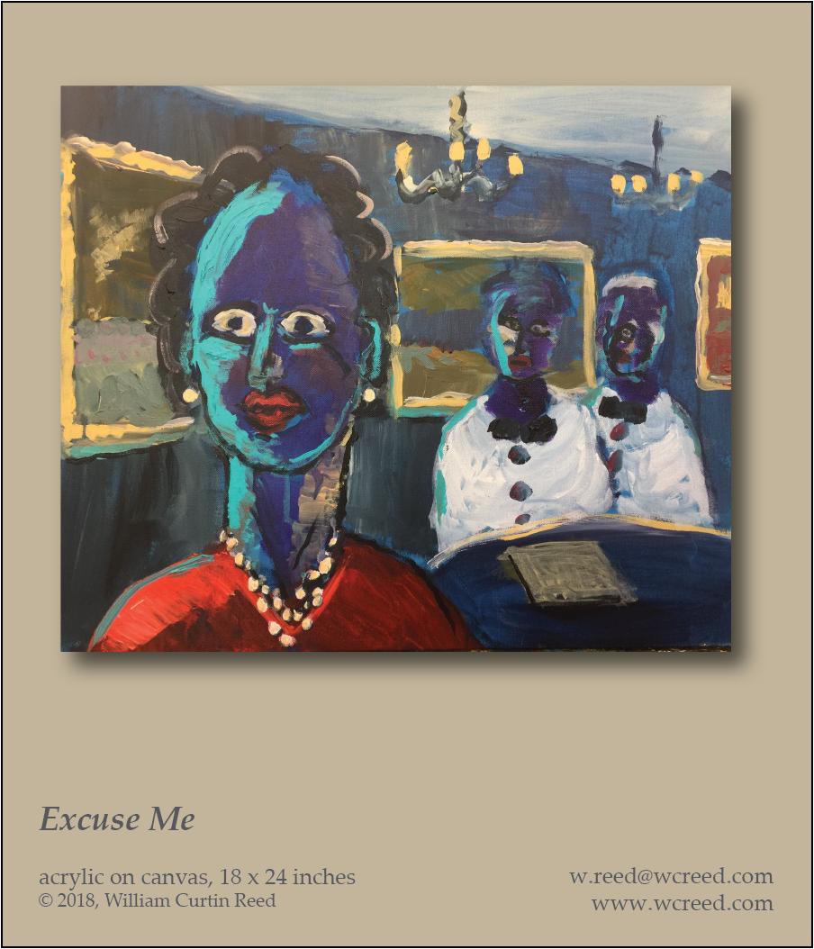 Excuse Me, an original Painting by William Reed, Acrylic on Canvas, 18 x 24