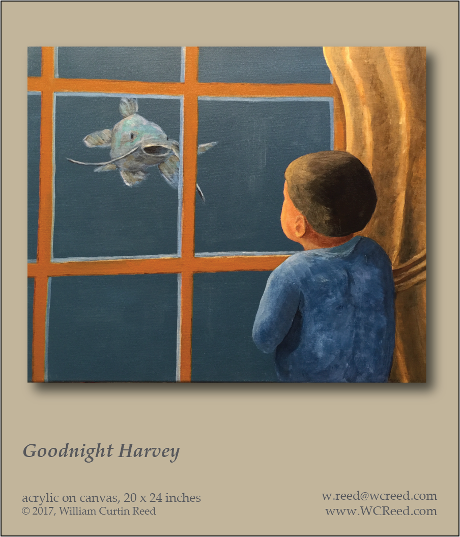 Goodnight Harvey, an original Painting by William Reed, Acrylic on Canvas, 20 x 24