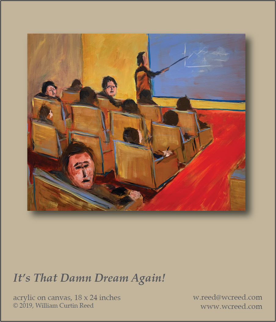 It's That Damn Dream Again!, an original Painting by William Reed, Acrylic on Canvas 18 x 24