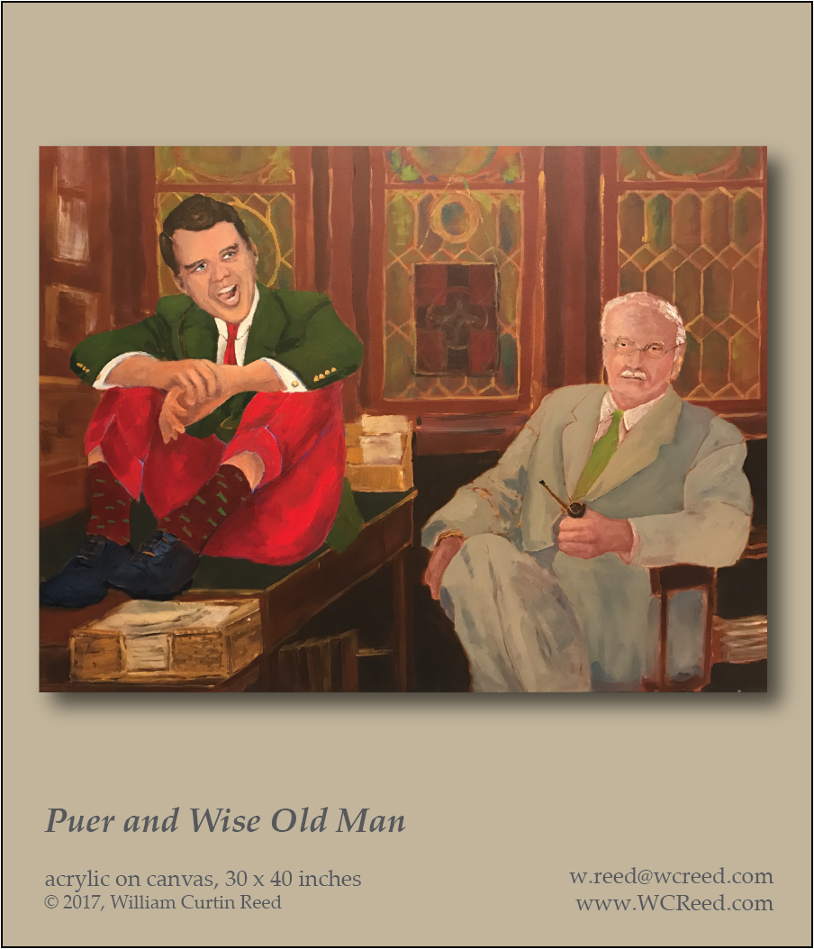 Puer and the Wise Old Man, an original Painting by William Reed, Acrylic on Canvas, 30 x 40
