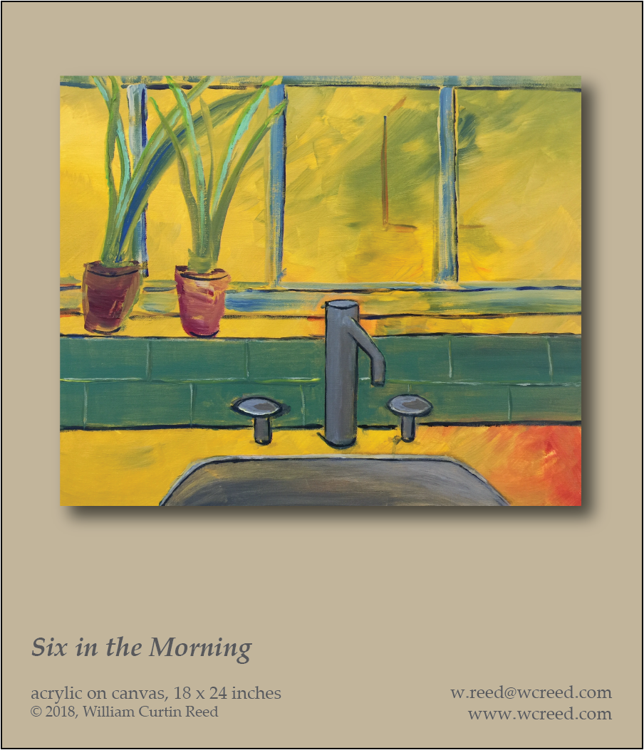 Six in the Morning, an original Painting by William Reed, Acrylic on Canvas, 18 x 24
