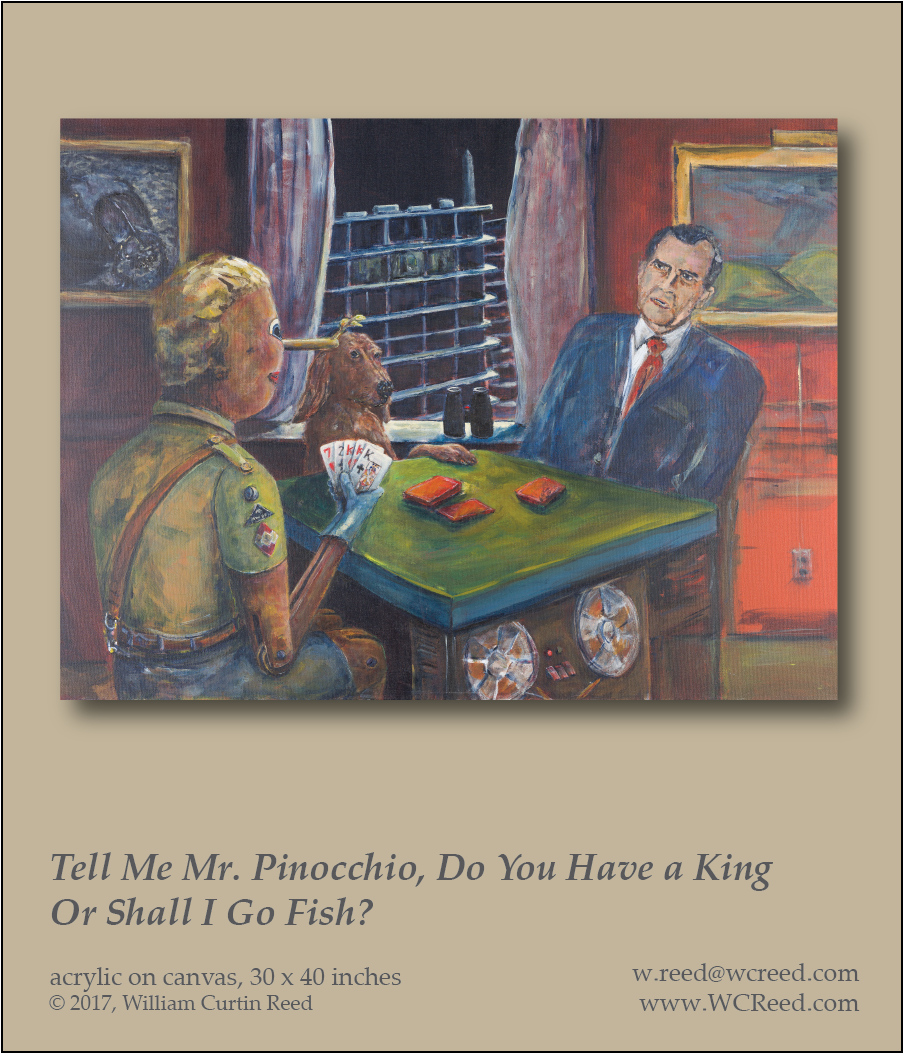 Tell Me Mr. Pinocchio, Do You Have a King or Shall I Go Fish?, an original Painting by William Reed, Acrylic on Canvas, 30 x 40