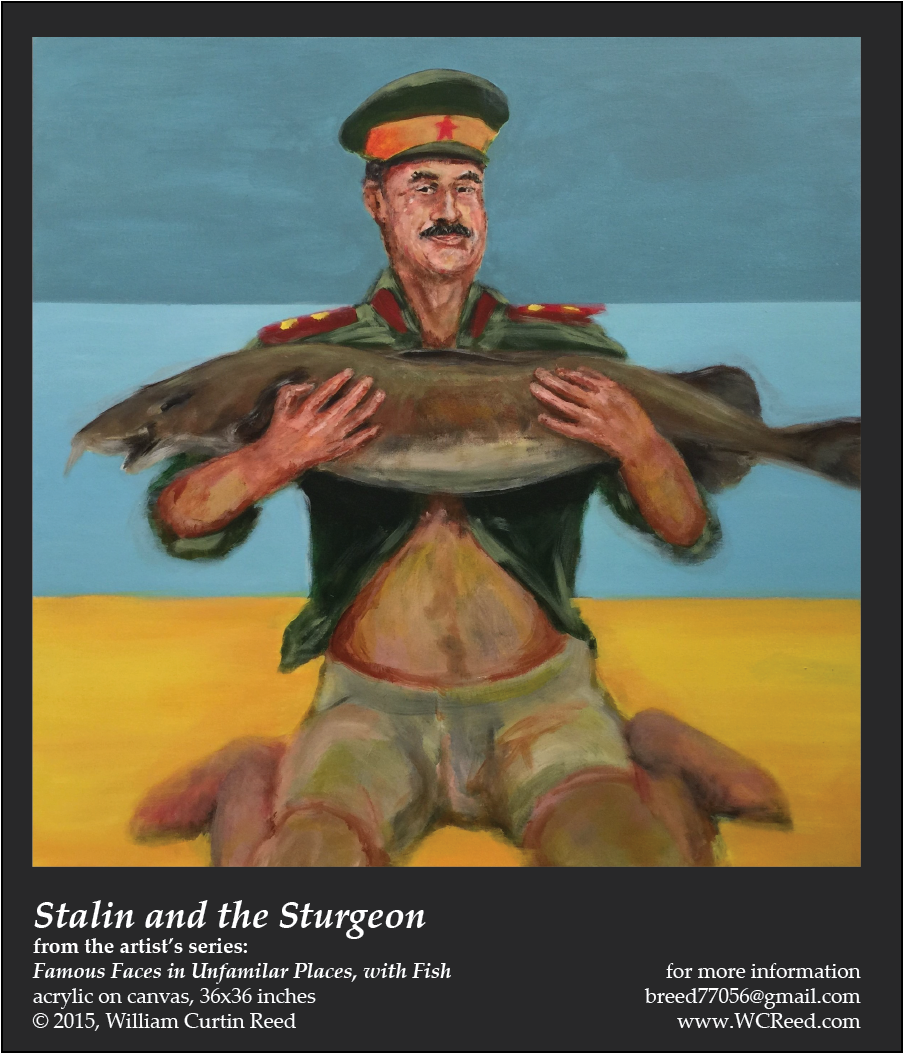 Stalin and the Sturgeon, an original Painting by William Reed, Acrylic on Canvas, 36 x 36