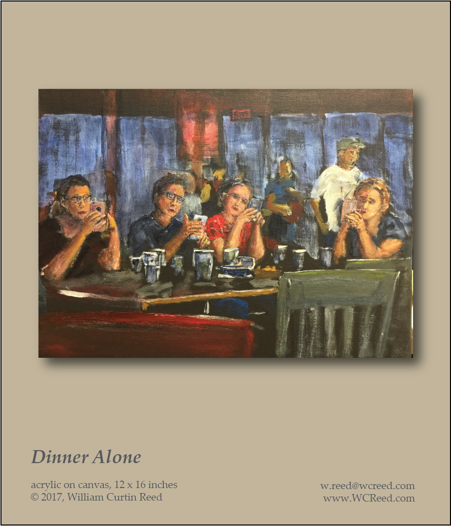 Dinner Alone, an original Painting by William Reed, Acrylic on Canvas, 12 x 16